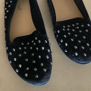 Shoedazzle Black Suede Silver Studded Flats